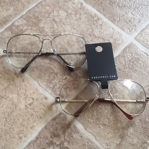 Two Pairs of Aviator Gold and Silver Glasses